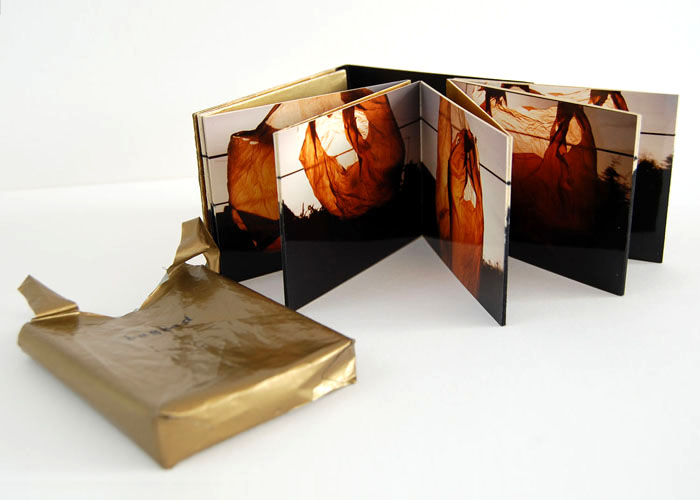 'Bagged', photography, text on acetate binding, foil.